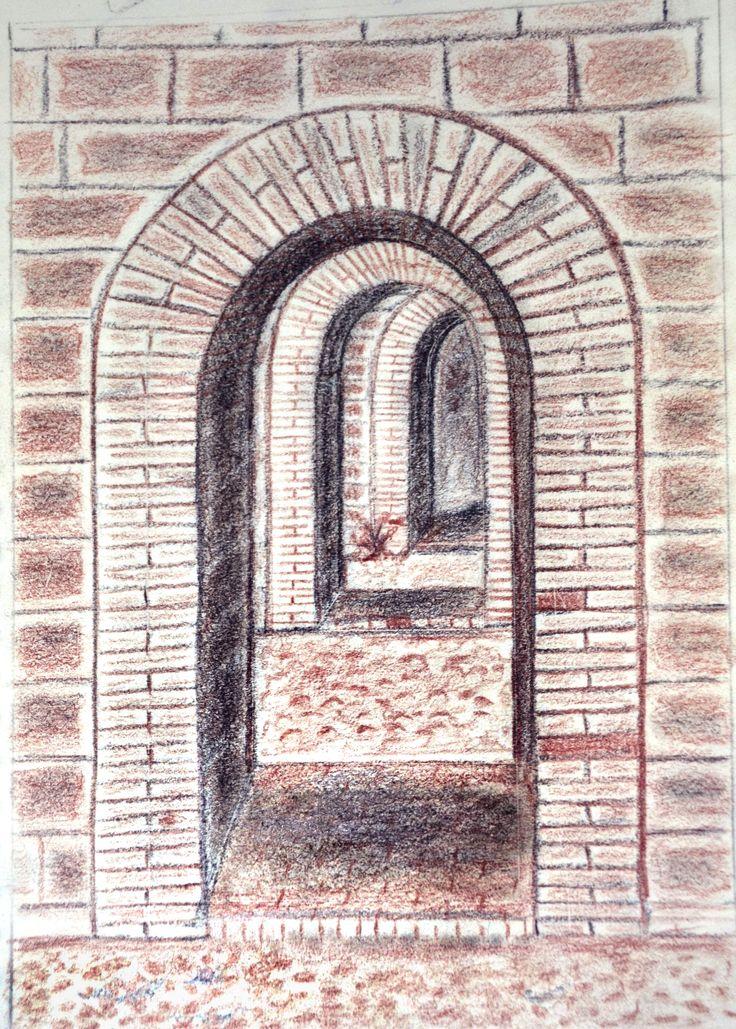 Ejercicios para libro de dibujo /Sanguina y carboncillo sobre papel por Jessica Millan G