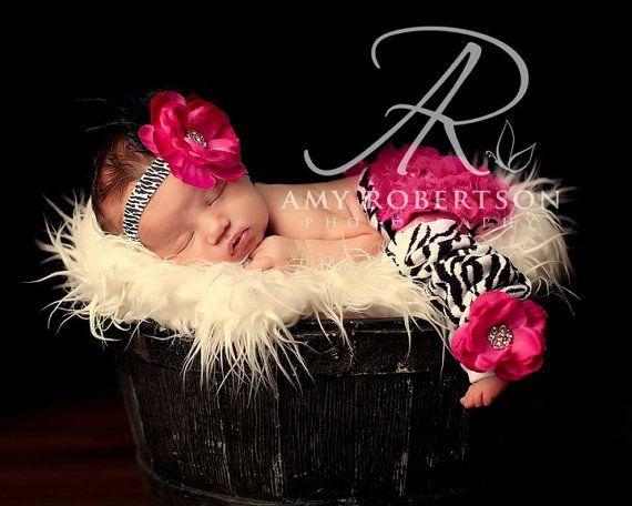 ZEBRA HEADBAND and LeG WARMER Set  Newborn by GorgeousAndCompany, $34.95