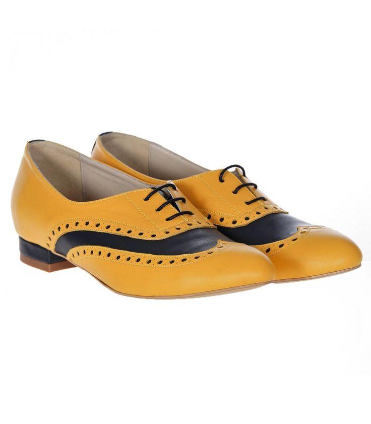 Pantofi Oxford Piele Naturala Mango-Bleumarin - Cod S237