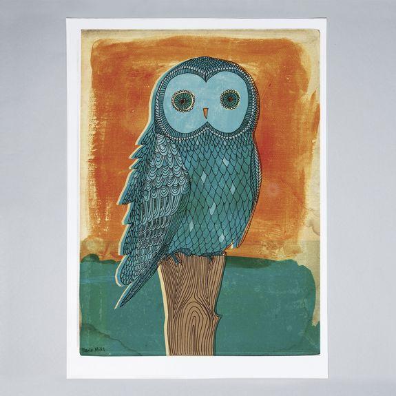 Sweet William - Owl in Blue - Print