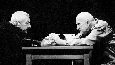 Faust und Mephisto scliessen Ihren Pakt  - Günter Mack und Klaus Wagner Theater Heilbronn Spielzeit 2002 / 2003 Regie : Klaus Wagner