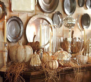 pottery Barn: Mercury Glasses, Idea, Fall Decor, Fall Mantels, Pumpkin, Silver Trays, Falldecor, Mantles, Pottery Barns
