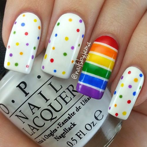 Simplistic Rainbow Polka Dots and Stripes Nail Art