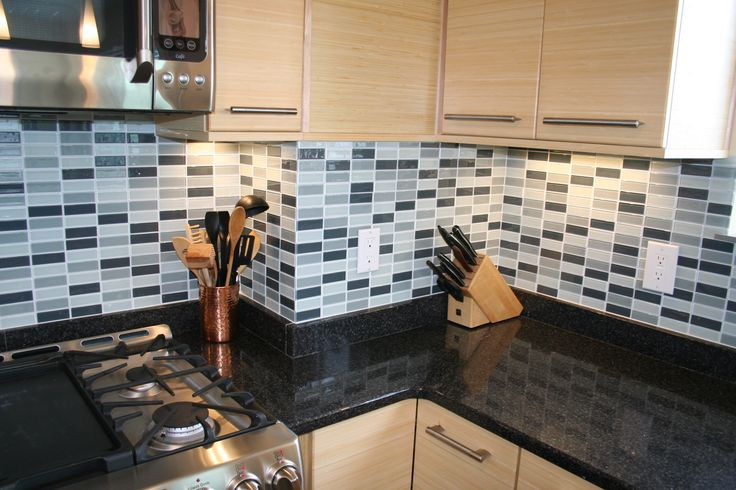 Blue backsplash