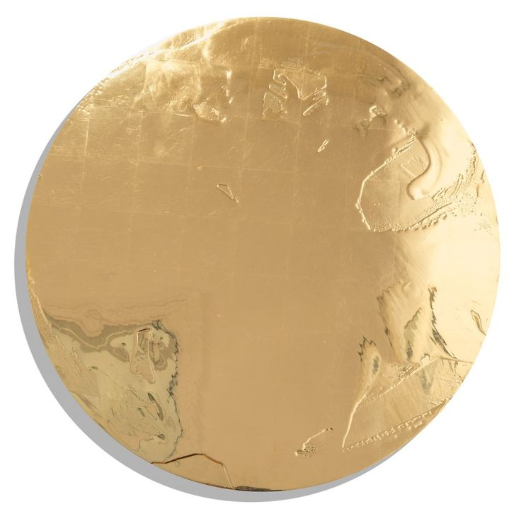 "Max Gimblett - Discobolus 2016 gesso, resin, 23.75kt rosanoble gold leaf on wood panel  30"" circle (762mm diameter)"