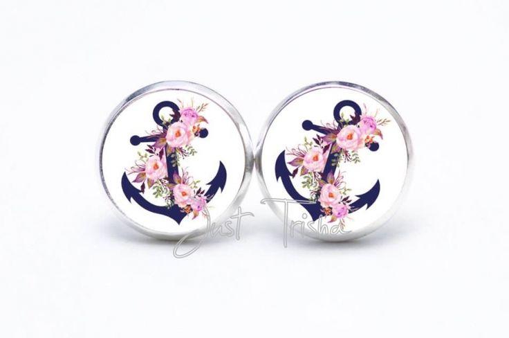 Ohrringe Anker mit Blumen