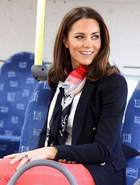 Kate, wearing the GB Team Supporter's Official Scarf for London OOGG 2012, while she the Olympic park as well as meeting members of the men's and women's GB Hockey teams at the Riverside Arena.    (March 15, 2012 in London, England).