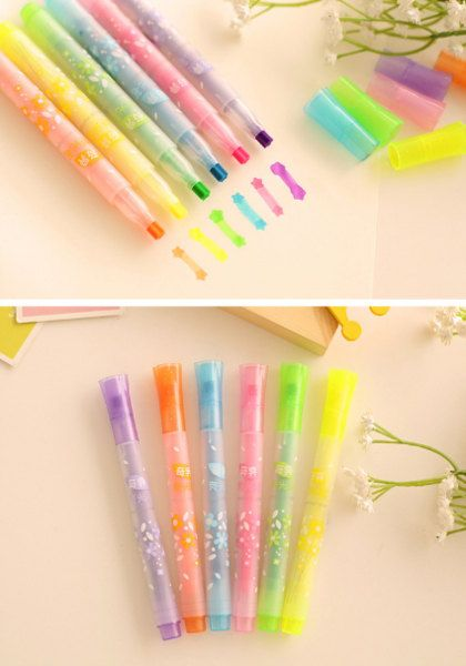 KAWAII stationery highlighter pens from Etsy! Highlighter - Highlighter & Stamp - Star tip   School Supplies. These adorable highlighters have a star shaped tip you can use like a stamp! * Price for a set of 2 highlighters in random colour! * Use this star shape highlighter to note important things! It is available in 6 colours, pick your favourite ones or let us choose them for you! Great for crafts, bujo, bullet journal, diary marking or teachers. #cute #stationery #color #star #affiliate