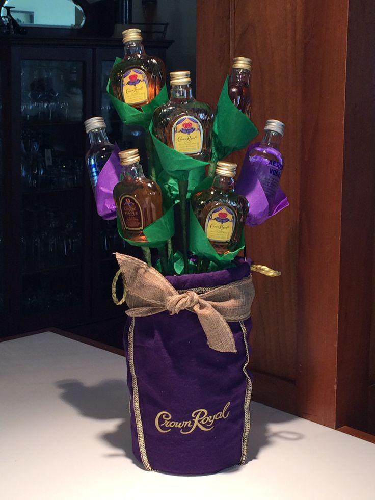 Liquor bottle bouquet. Crown bouquet.