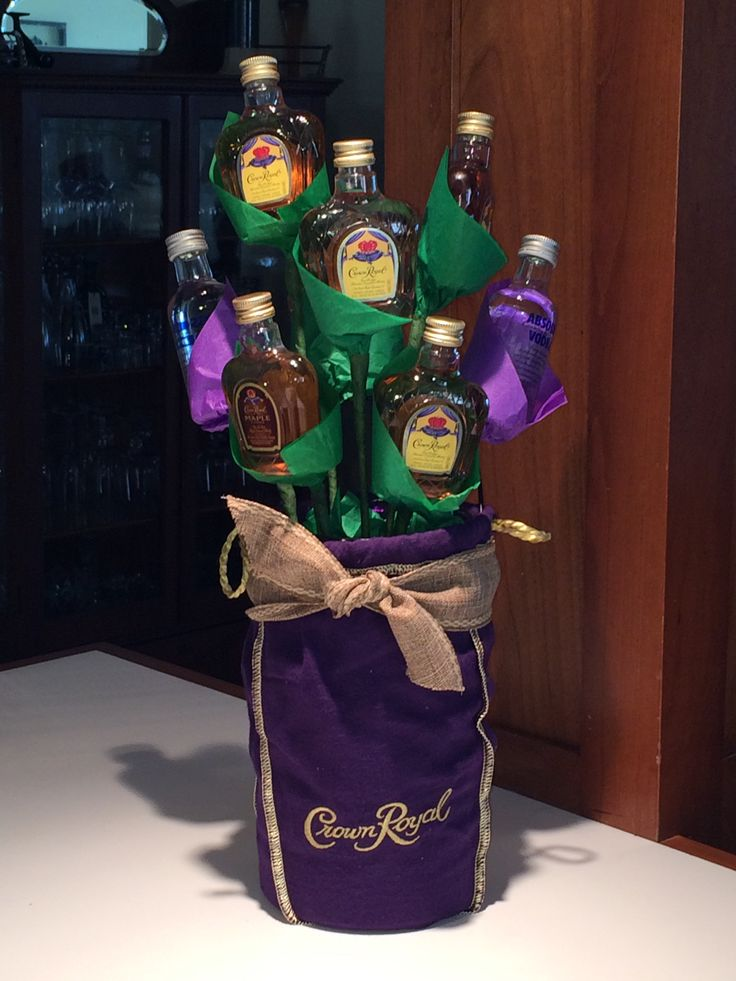 Liquor bottle bouquet. Crown bouquet.