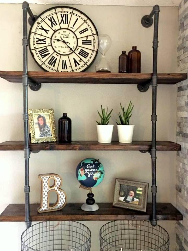 "3/4"" Industrial Black Iron Pipe Shelf / Shelving (Lumber not Included)  #Handmade"