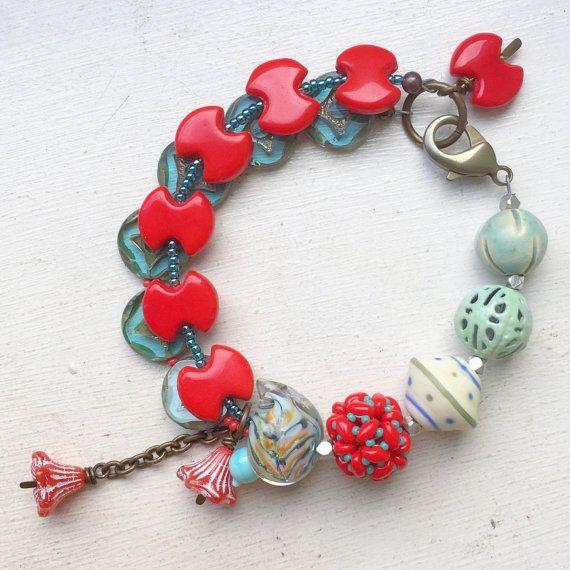 Red turquoise green bird flower bracelet, multistrand bracelet, vintage bracelet, red bracelet, statement bracelet, gift for her, uk shop