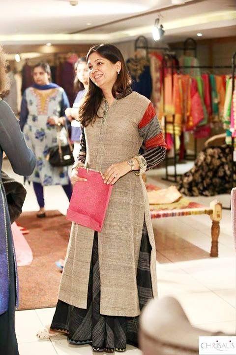 Brown khadi kurta with black skirt