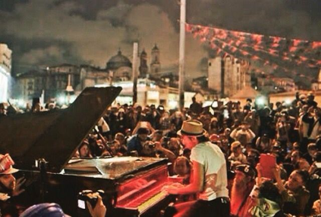 The beautiful part of the resistance... They brought an actual piano to the middle of Taksim square. It was the most beautiful spontaneous concert I've ever seen... It was a serene, magical scene...