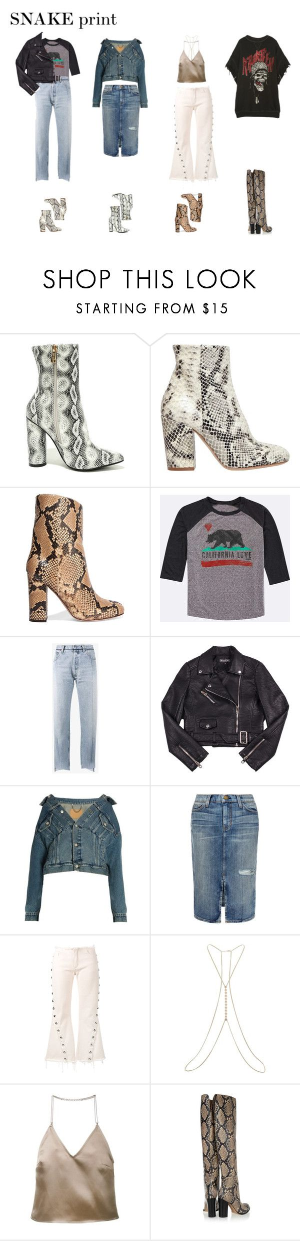"""SNAKE print booties"" by stylish-introvert on Polyvore featuring Cape Robbin, Strategia, Iris & Ink, Billabong, Vetements, Balenciaga, Current/Elliott, Marques'Almeida, Miss Selfridge and Barbara Casasola"