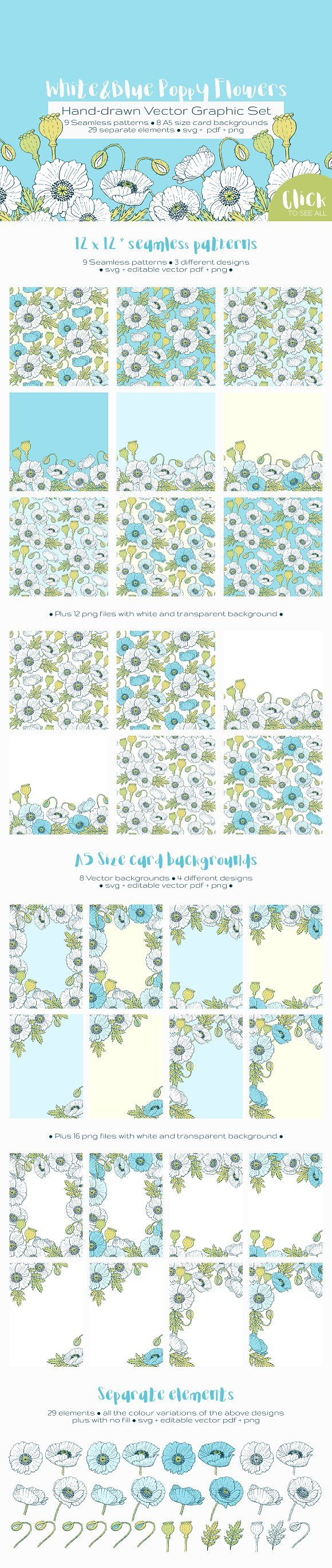 White and Blue Poppies Vector Set - This hand-drawn graphic set contains 3 seamless pattern designs and 4 A5 card background designs - both with white and white&blue flowers on different background colours - and also the separate elements to craft your own designs.  All the designs use the same colour palette so you can mix and match to find your favourite combination for sets or scrapbook layouts. By annabellak $12 #affiliatelink