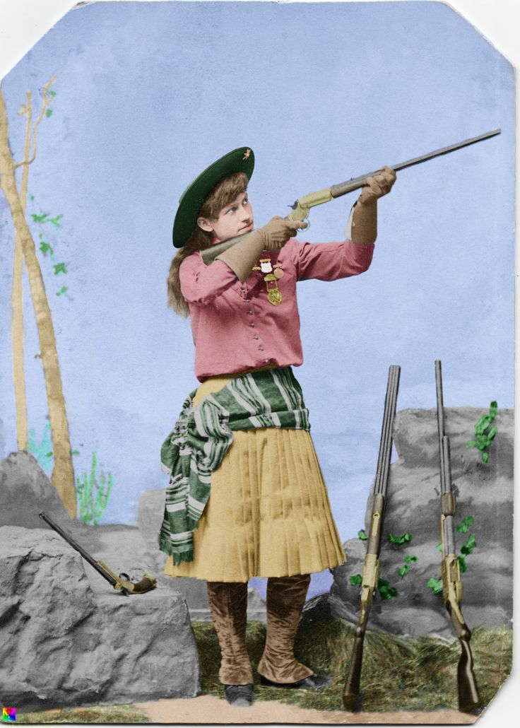Annie Oakley. (Colorized Photo).