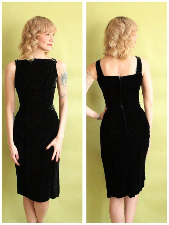 21789adda1743a ~Sleek and Sultry 1960s Velvet Sheath Dress ~Fitted and flattering sheath ~ Sleeveless ~Rhinestone detail on the shoulders ~Back metal zipper ...