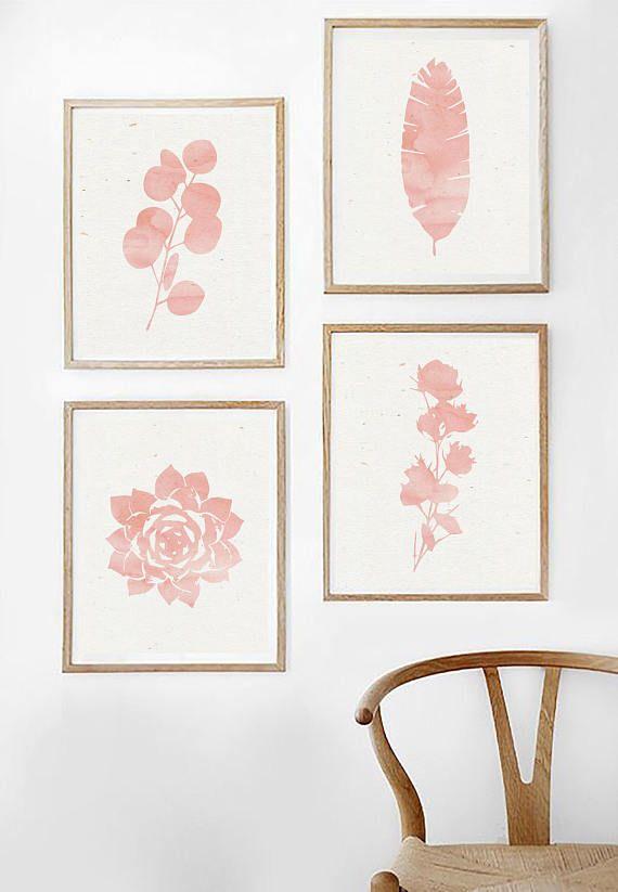 Printable Pink Leaf Print Blush Pink Art Abstract Millennial Pink Minimal Leaves Modern Pink Paint Pal Pink Art Pink Wall Art Pink Abstract Art