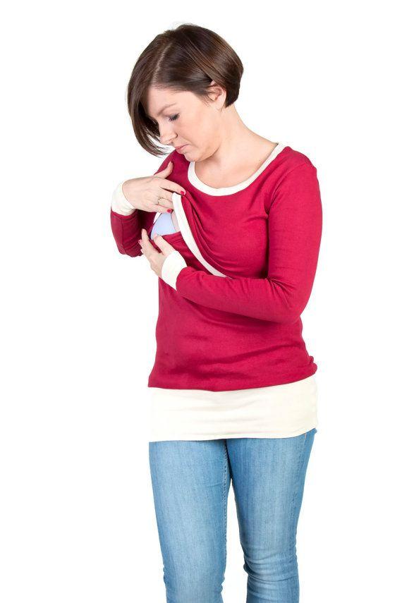 3 in 1 Maternity Pregnancy Sweatshirt Multifunctional Nursing Breastfeeding Tunic/Top