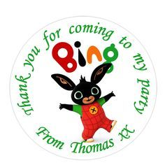 35x Personalised BING Labels 37mm Stickers Party Seals sweet cone bags cbeebies