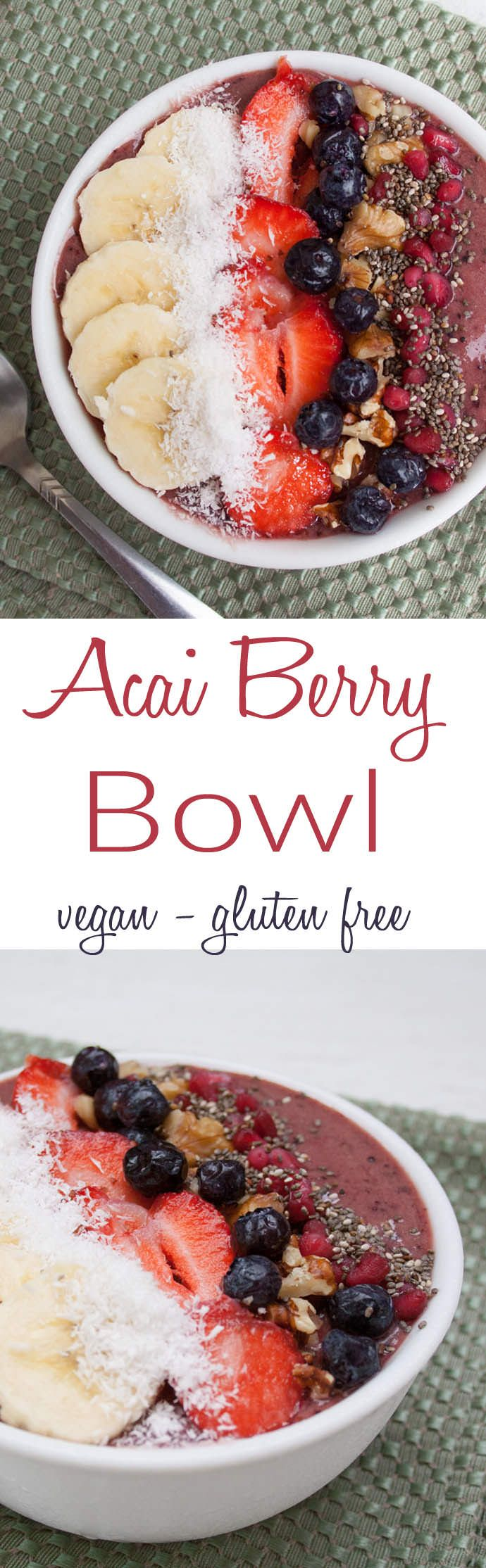 Acai Berry Bowl (vegan, gluten free) - This smoothie bowl makes you feel like you are eating dessert, but it is really healthy! Since it can be made in minutes, it is perfect for weekdays!
