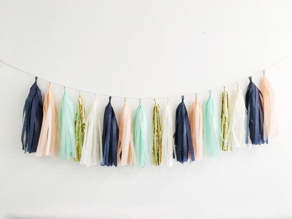 Peach Mint Gold and Navy Tassel Garland Peach Party by BlushBazaar