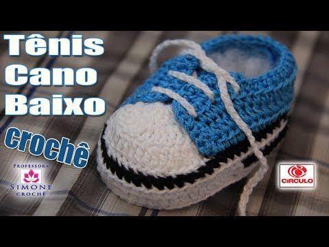 Sapatinhos Para Bebê - Life Baby: Tênis em crochê cano baixo azul - Professora Simone