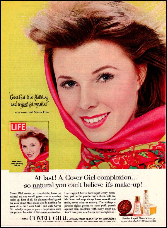 Cover Girl Sheila Finn Vintage Ad 1960s - Beautiful Model for Cover Girl Medicated Make-up