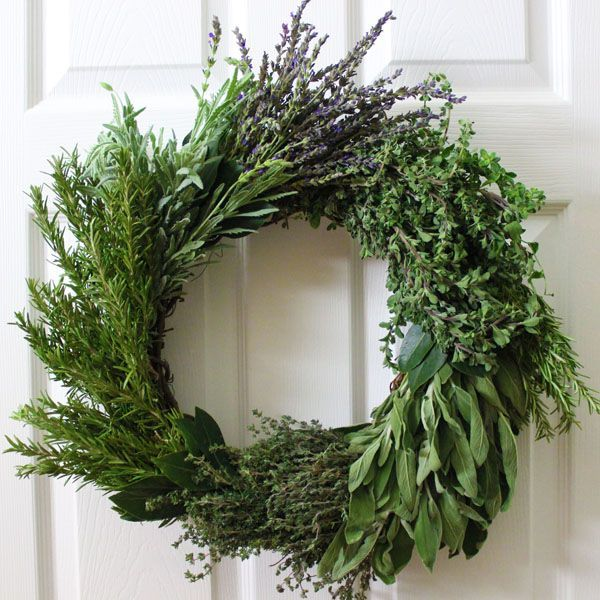 How to Make Herb Wreaths | eHow looks like sage, rosemary, lavender & something else with a few bay leaves