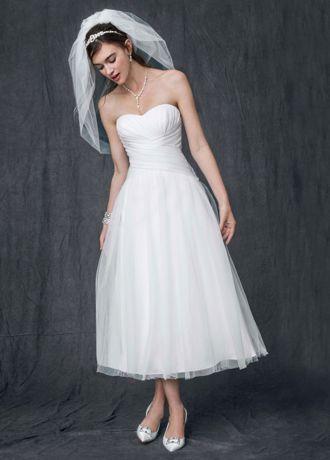 Tea length wedding tea length and tulle skirts on pinterest for Tea length wedding dress tulle skirt