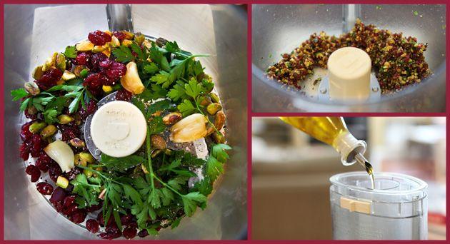 Cranberry Pistachio Pesto : serve on an open-faced grilled chicken sandwich