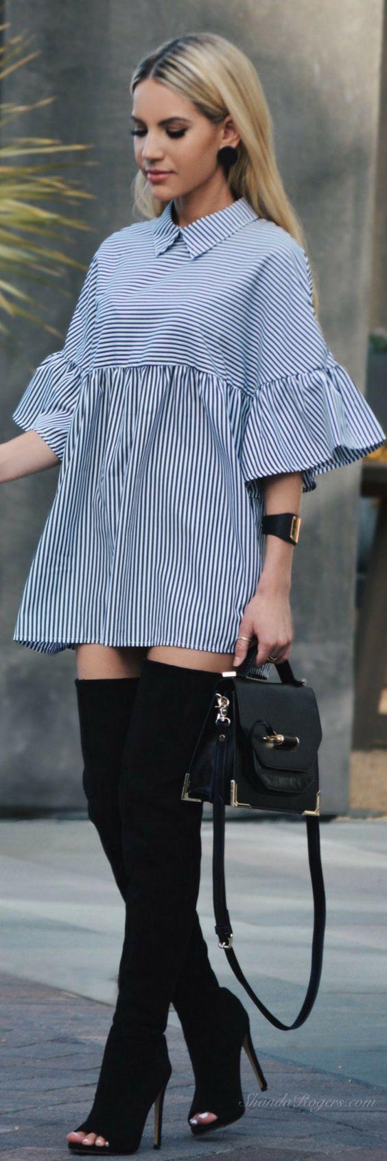 OTK boots and striped mini dress
