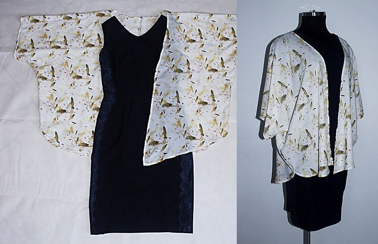 Vestido corto (strech) azul oscuro con aplique de blonda lateral y largo de falda midi y kimono en chalis estampado.