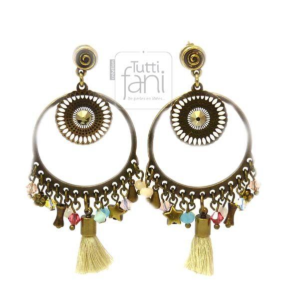 Boucles d'oreilles ethnique chic bronze, cristal et pompon