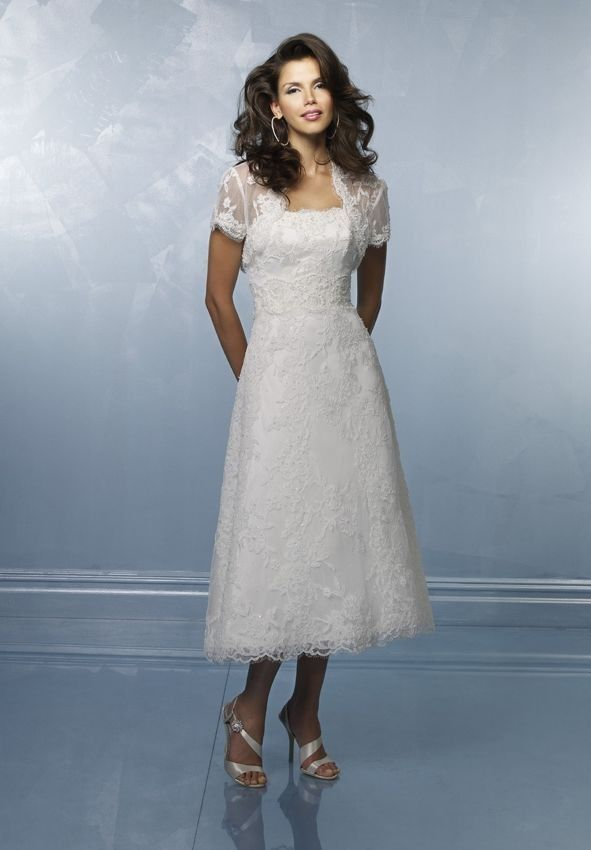 Tea Length Wedding With Sleeves Bridal Gowns Lace Gown And