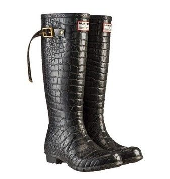 Jimmy Choo & Hunter Wellington Embossed Crocodile Black Boots. Get the must-have boots of this season! These Jimmy Choo & Hunter Wellington Embossed Crocodile Black Boots are a top 10 member favorite on Tradesy. Save on yours before they're sold out!