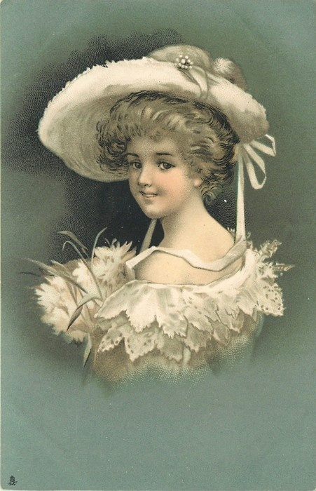 girl in white hat, her back to right, head turned looking to left