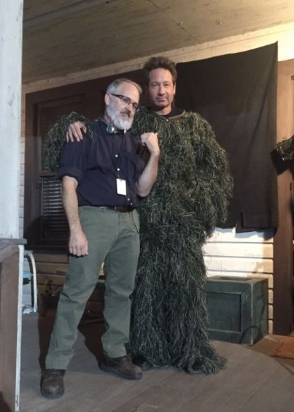 """justholdinghandsok: """"This is very breathable…. On set of @thexfiles with Darin Morgan! Can we just all stop what we're doing and talk about WHAT IS HAPPENING HERE????? """""""