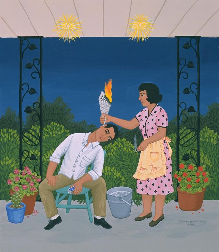 Earache Treatment by Carmen Lomas Garza. A common practice in my home to release air trapped inside the ear (do not try this without having received instruction). My mom's newspaper of choice was La Voz de la Frontera accompanied by a bucket of water... just in case... as shown in this painting.   (What is now popularly known as ear coning.)  www.carmenlomasgarza.com