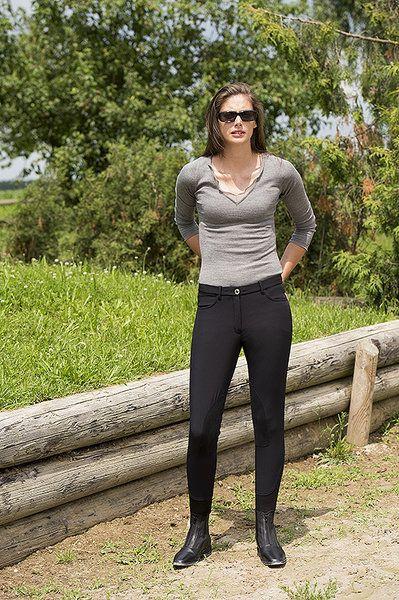 """Pantaloni tecnici da equitazione donna Equi-thème modello """"Slow"""" per monta inglese, ideale per l'inverno grazie al suo interno in poliestere, un tessuto che trattiene il calore e garantisce una buona gestione dell'umidità."""