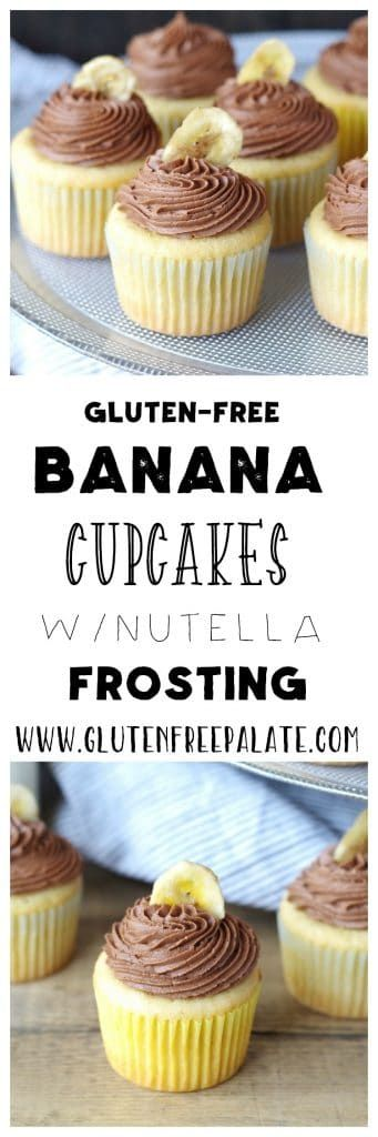 Gluten-Free Banana Cupcakes with a creamy, smooth, Nutella frosting put regular Banana Cupcakes to shame. Move over Fat Elvis, there's a new gluten-free cupcake in town