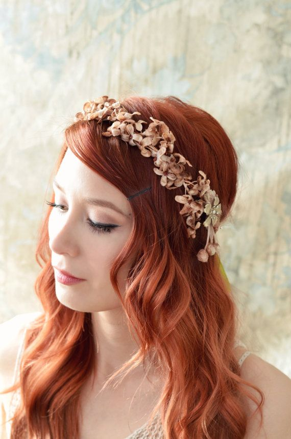 Fall flower crown golden flower headpiece by gardensofwhimsy