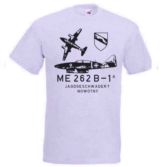 T-Shirt ME 262 B-1 Jagdgeschwader 7 Nowotny der deutschen Luftwaffe der Wehrmacht in der Farbe grau. Die ME 262 war das erste Düsenflugzeug der Welt! / mehr Infos auf: www.Guntia-Militaria-Shop.de
