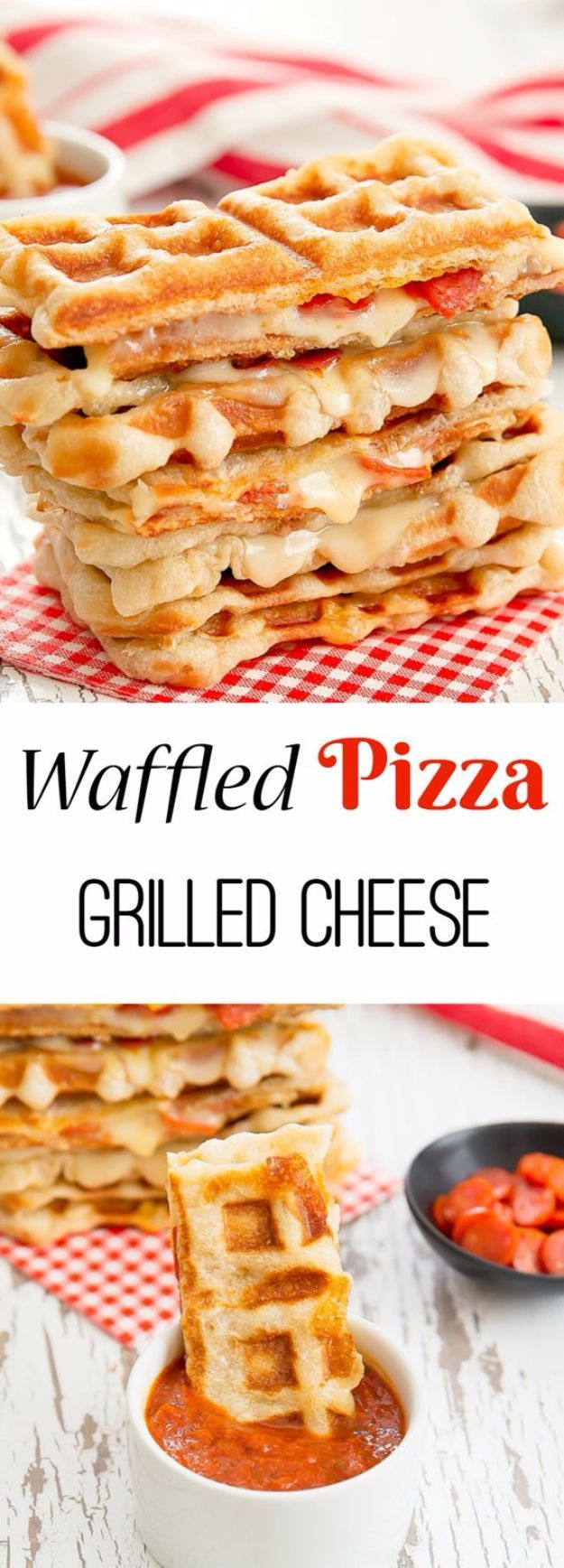 Waffle Iron Hacks and Easy Recipes for Waffle Irons - Waffled Pepperoni Pizza Grilled Cheese - Quick Ways to Make Healthy Meals in a Waffle Maker - Breakfast, Dinner, Lunch, Dessert and Snack Ideas - Homemade Pizza, Cinnamon Rolls, Egg, Low Carb, Sandwich (easy healthy meals for men)
