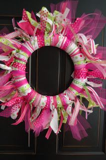 Maddyson's Lane: Ribbon Wreath~DIY  ( I like this for the door to indicate the party is here or even to lay it down around the punch bowl or table centerpiece.