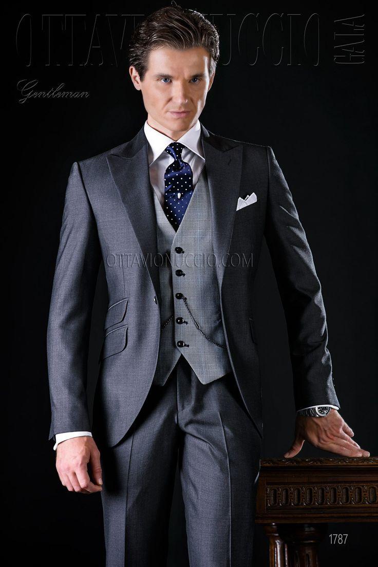 Gray peak lapel Italian luxury formal suit  #luxury #groom #wedding #tuxedo #madeinitaly #business #formalwear