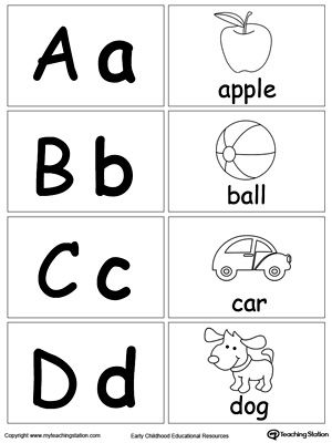 Small Printable Alphabet Flash Cards For Preschooler Letters A B C D: Learn the alphabet and the sound of the letters with these small picture alphabet flash cards. Help your preschooler identify the sound of the letter by looking at the pictures.