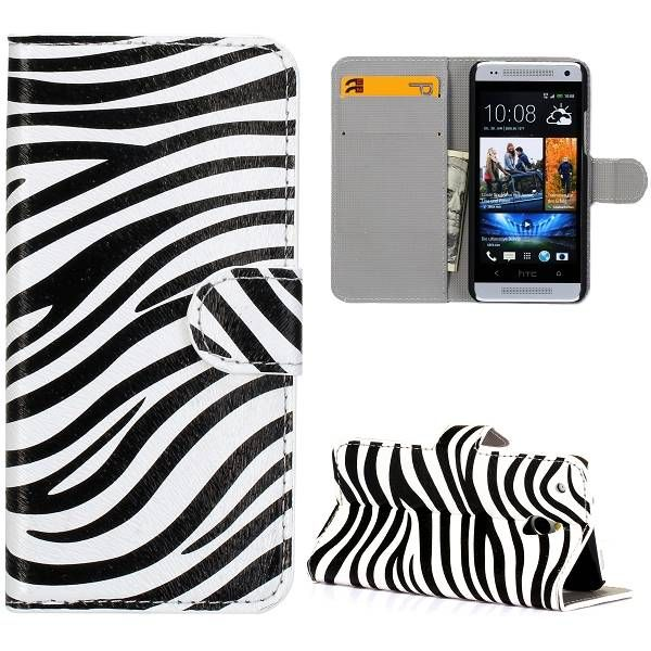 Zebra patroon booktype hoesje voor de HTC One mini