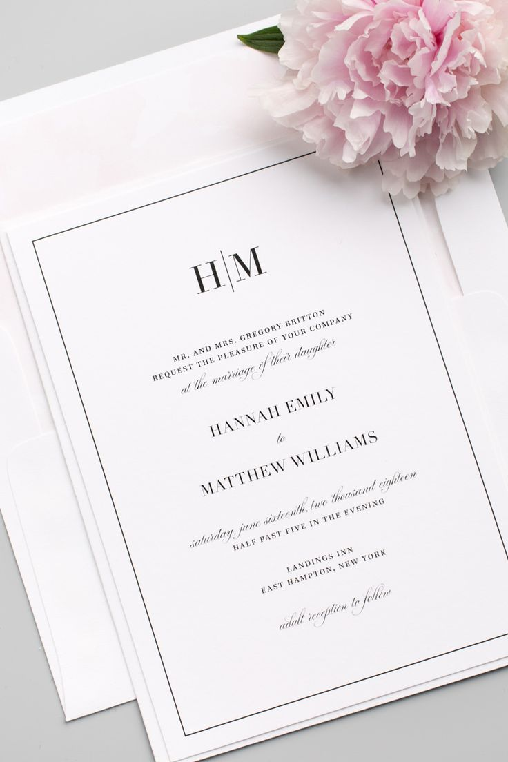 Glam monogram wedding invitations Liner 4 50 x 1 20
